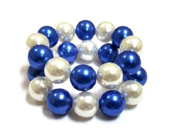 Blue and White 2 Layer Pearl Stretch Bracelets ( 1774 )