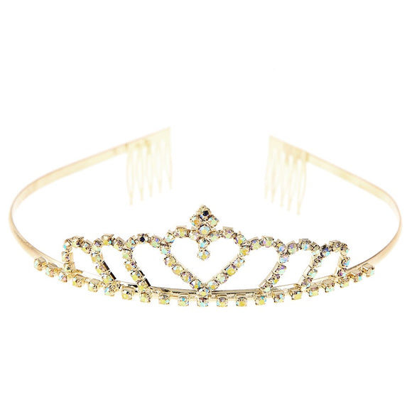 Gold and AB Rhinestone Heart Shaped Crown ( 60446 )