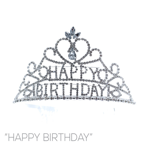 SILVER HAPPY BIRTHDAY CROWN WITH CLEAR STONES ( 60633 )