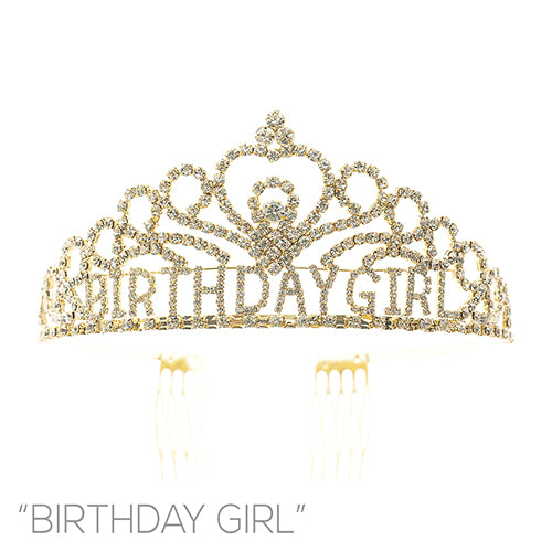 GOLD BIRTHDAY GIRL CROWN CLEAR STONES ( 60736 )