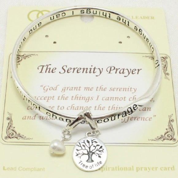 INSPIRATIONAL SILVER BANGLE WITH SERENITY PRAYER TREE OF LIFE ( 06967 )