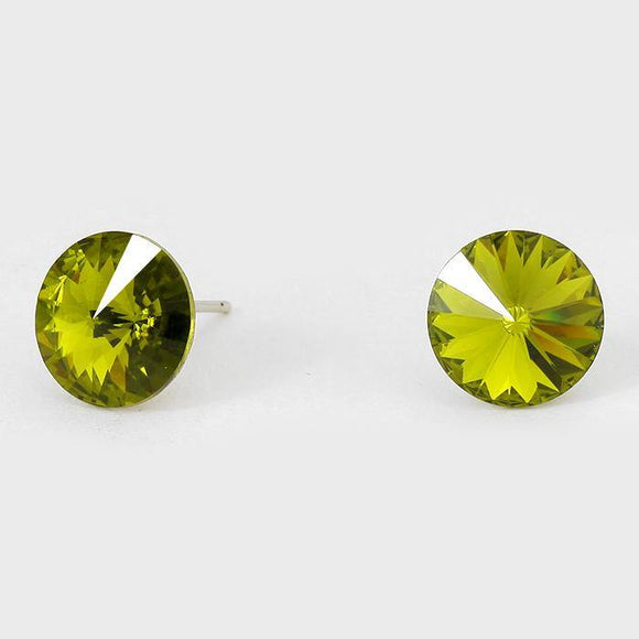 11mm OLIVE GREEN Crystal Stud Earrings ( 47 20 )