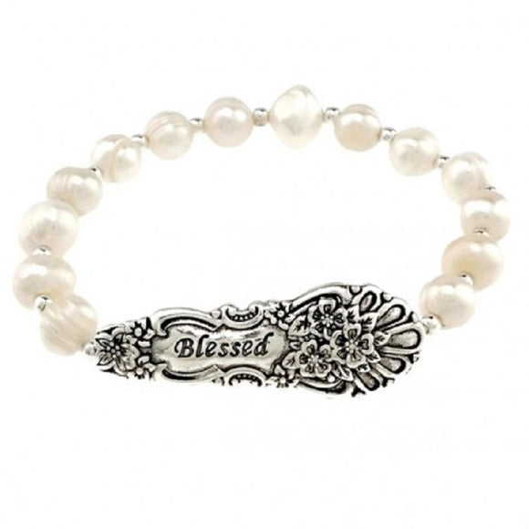 WHITE PEARL STRETCH BRACELET WITH BLESSED ( 07511 )
