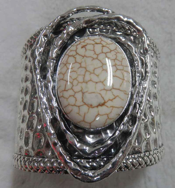SILVER CUFF BANGLE LARGE WHITE STONE ( 3703 )