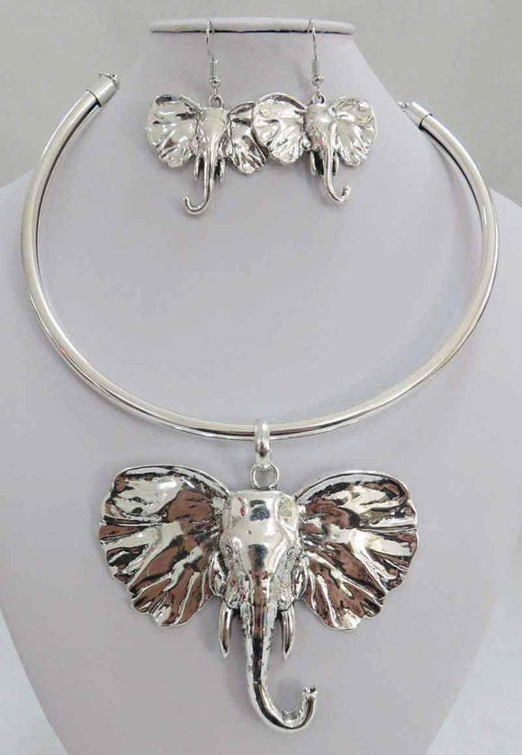ANTIQUE SILVER CHOKER SET ELEPHANT HEAD ( 3936 AS )
