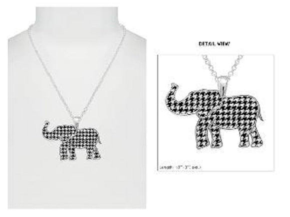 SILVER NECKLACE HOUNDSTOOTH ELEPHANT PENDANT ( 2483 SMX )
