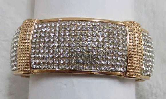 GOLD BANGLE CLEAR STONES SECTIONAL ( 728 G )