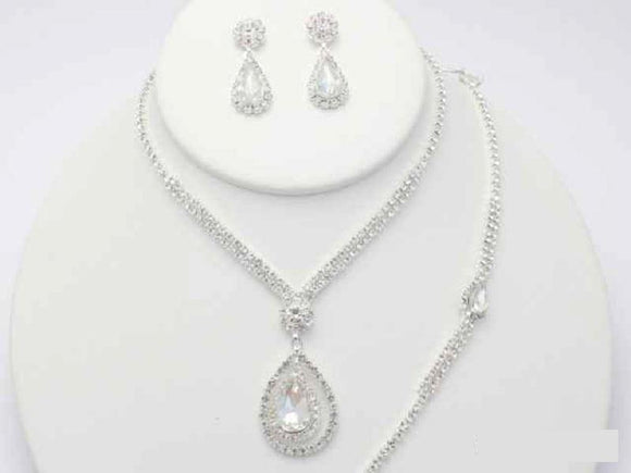 SILVER 3 PIECE NECKLACE SET BRACELET CLEAR STONES ( 19054 )