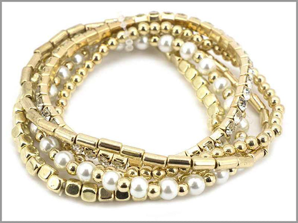 GOLD STRETCH BRACELET PEARLS ( 5762 G )