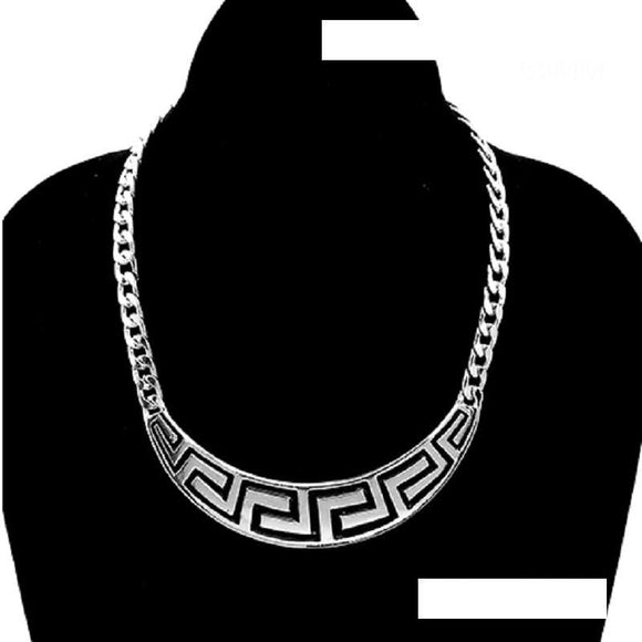 SILVER NECKLACE GREEK DESIGN ( 3465 )