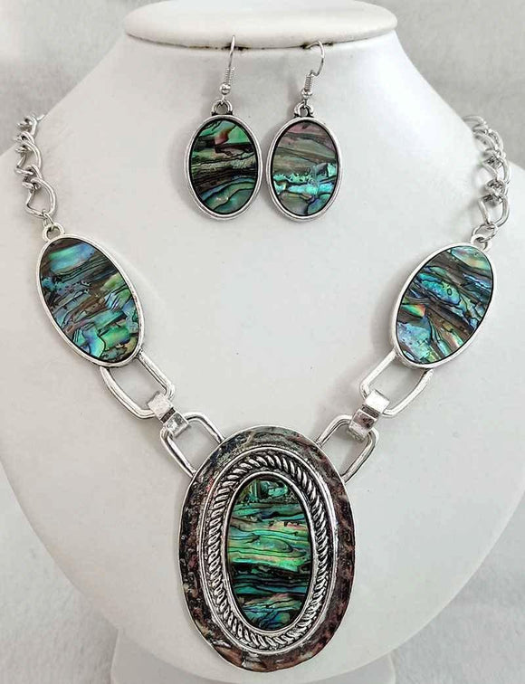 SILVER NECKLACE SET ABALONE STONES ( 3195 )