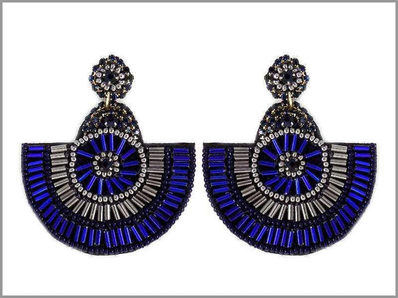 DANGLING BLACK NAVY BLUE BEAD EARRINGS ( 2674 )