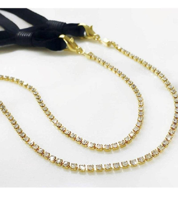 GOLD MASK CHAIN CLEAR STONES ( 002 2CL )