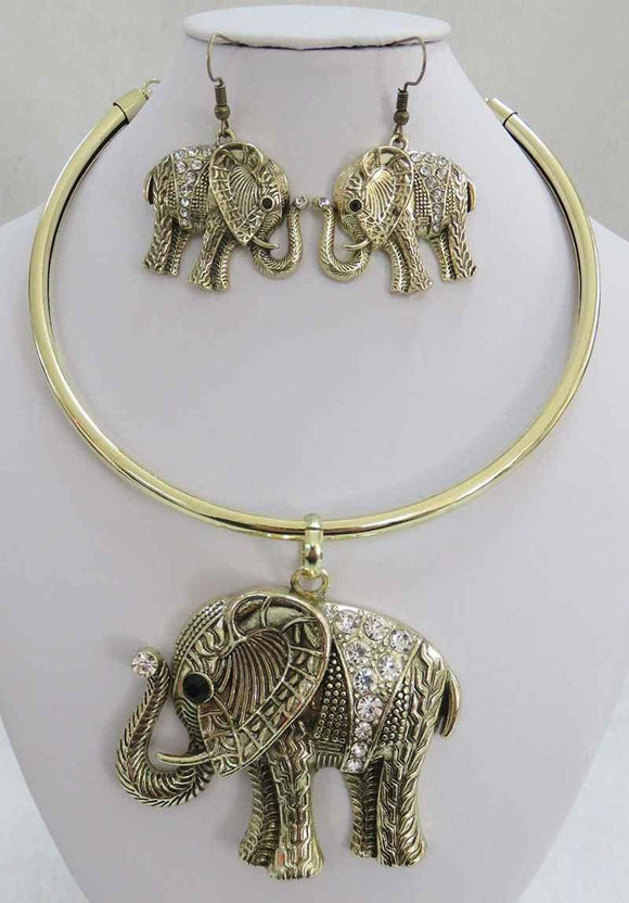 GOLD ELEPHANT CHOKER NECKLACE SET CLEAR STONES ( 3934 AG )