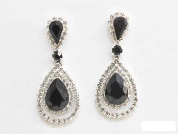 SILVER EARRINGS CLEAR BLACK STONES ( 6480 SBK )