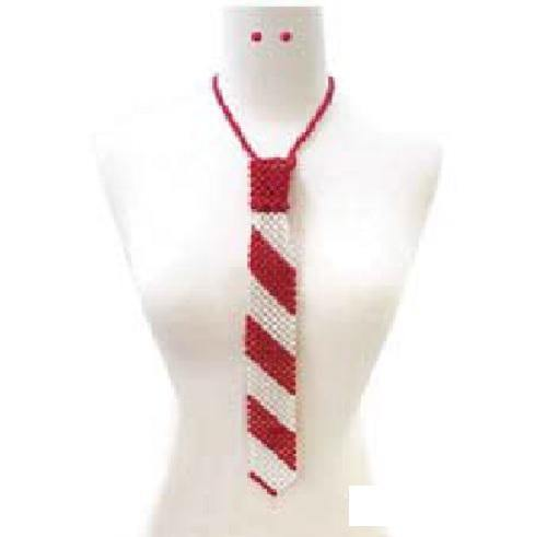 Red and White Pearl Tie Necklace with Matching Stud Earrings ( 132 RDWH )