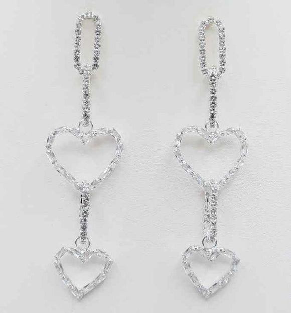 SILVER EARRINGS HEART DESIGN CLEAR STONES ( 5063 SIL )