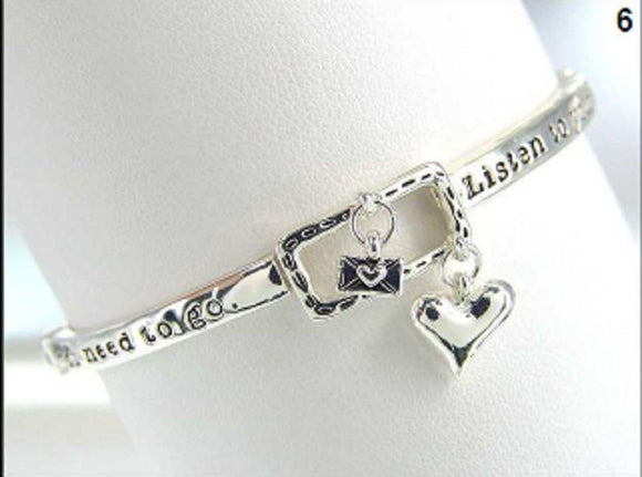SILVER STRETCH BRACELET LISTEN TO YOUR HEART MESSAGE ( 00697 ) - Ohmyjewelry.com