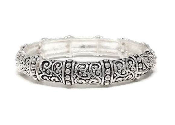 SILVER FILIGREE STRETCH BRACELET ( 00392 )