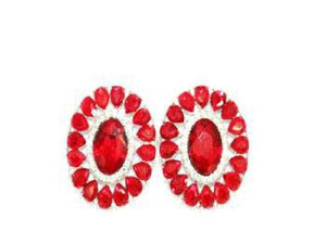 "1 1/2"" Red and Clear Oval Stone CLIP ON Earrings"