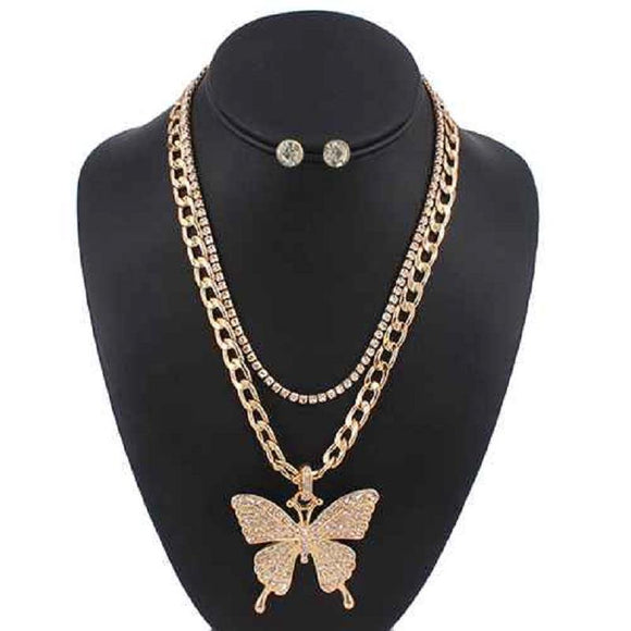 2 LAYER GOLD NECKLACE SET BUTTERFLY CLEAR STONES ( 5085 )