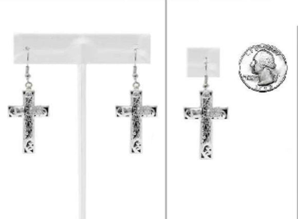 SILVER FILIGREE DOUBLE CROSS EARRINGS CLEAR STONES ( 2576 )
