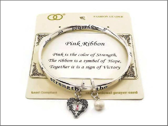 SILVER BANGLE WITH PINK RIBBON DESIGN AND CHARMS ( 07092 )