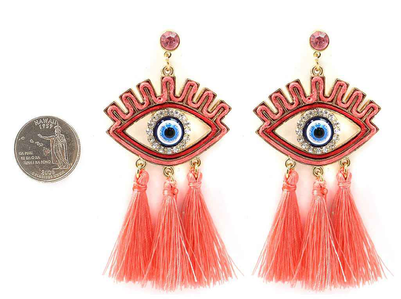 GOLD EVIL EYE CORRAL COLOR TASSEL EARRINGS ( 4323 )