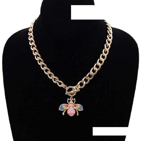 GOLD LIGHT MULTI COLOR ENAMEL RHINESTONE BEE TOGGLE NECKLACE ( 3437 GDLMT )