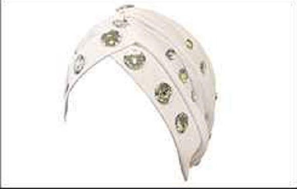 WHITE TURBAN WITH CLEAR RHINESTONES ( 2425 )