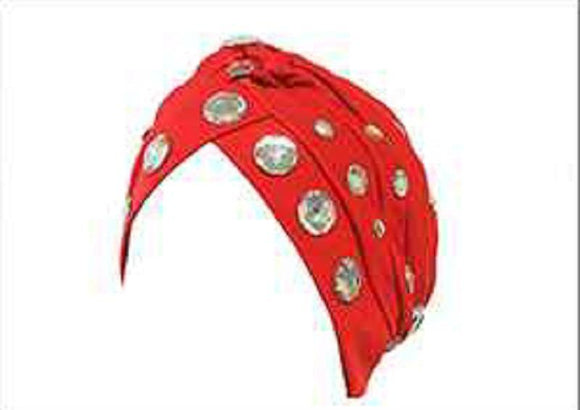 RED TURBAN WITH CLEAR RHINESTONES ( 2425 )
