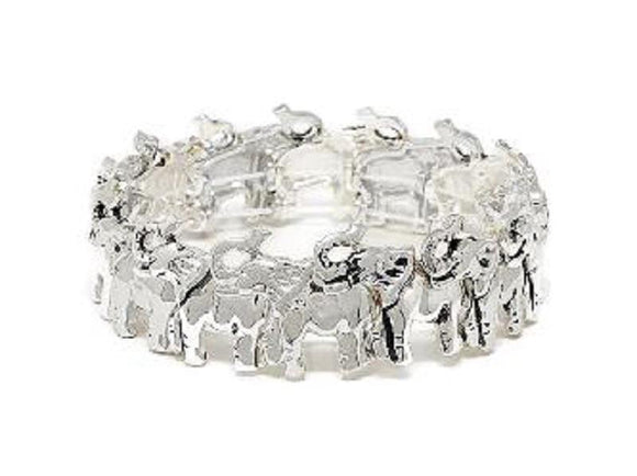 SILVER ELEPHANT STRETCH BRACELET ( 00291 AS )