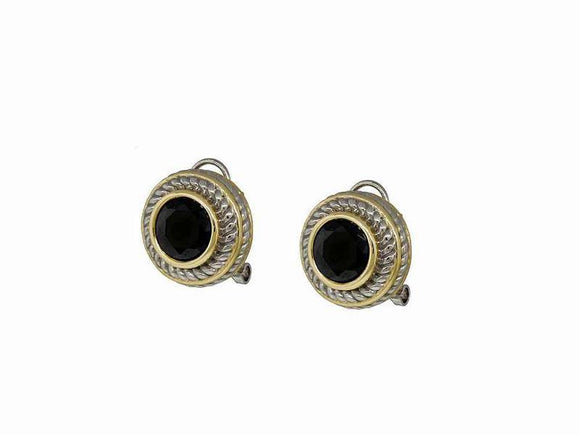SILVER GOLD FRENCH CLIP ON EARRINGS BLACK CZ CUBIC ZIRCONIA STONE ( 7715 BK )