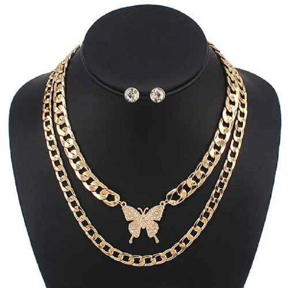 GOLD NECKLACE SET BUTTERFLY DESIGN ( 5087 )
