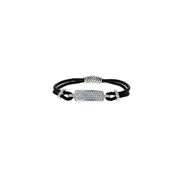BLACK LEATHER MAGNETIC BRACELET CLEAR STONES ( 1071 CL )