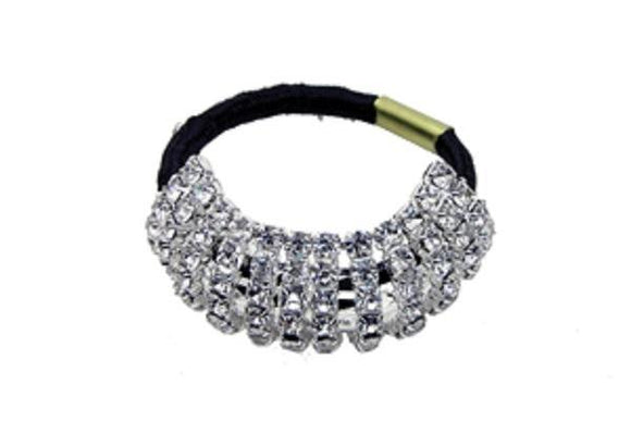 Silver Clear Rhinestone Small Flexible Hair Tie for Pony Tail ( 70450 )