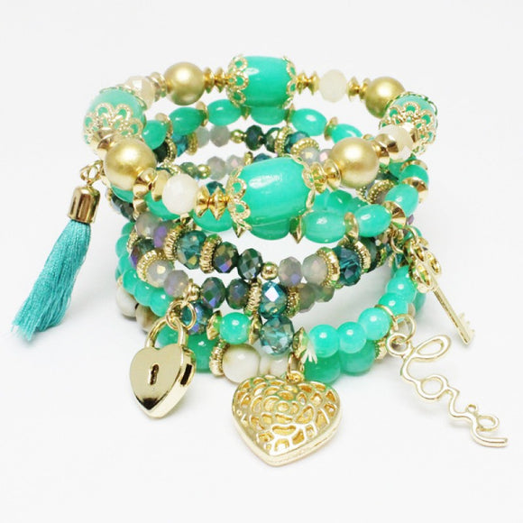 Layered TURQUOISE Glass Beaded Stretch BRACELETS with Heart Charms ( 1118 )