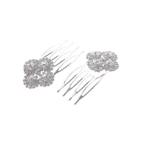 2 SILVER HAIR COMB WITH CLEAR STONES ( 71889 )