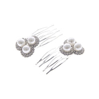 2 SILVER PEARL HAIR COMB WITH CLEAR STONES ( 71891 )