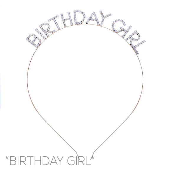 GOLD ' BIRTHDAY GIRL ' CLEAR STONES HEAD BAND ( 71971 )