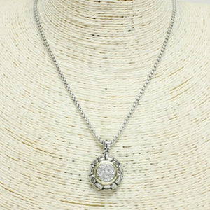 NECKLACE WITH TWO TONED PENDANT ( 1036 )