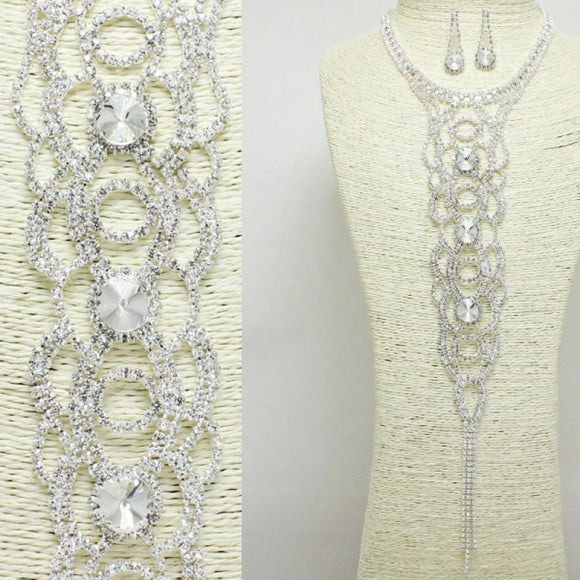 SILVER CLEAR RHINESTONE LONG DROP NECKLACE SET ( 1003 )