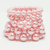 5 Layer Pink Pearl Stretch Bracelets ( 005 )