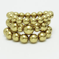 3 Layer Matte Gold Combo Pearl Stretch Bracelets ( 004 )