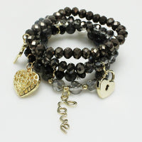 4 Layer BLACK Glass Beaded Stretch Bracelets with Gold Love Theme Charms ( 5156 )