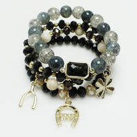 Multi Layer BLACK Beaded Good Luck Theme Charm Stretch Bracelets ( 5155 )