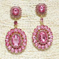 GOLD PINK OVAL GLASS STONE CHANDELIER EARRINGS CLIP ON ( 1155 )
