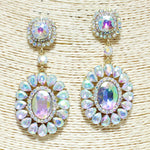 GOLD AB OVAL GLASS STONE CHANDELIER EARRINGS CLIP ON ( 1155 )