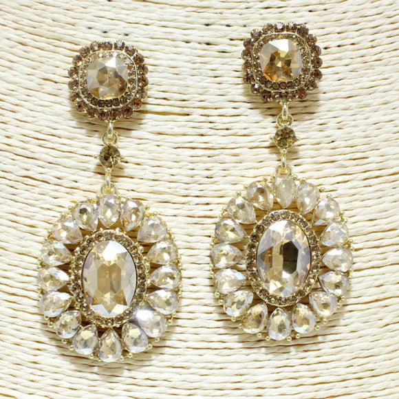 GOLD TOPAZ OVAL GLASS STONE CHANDELIER EARRINGS CLIP ON ( 1155 )