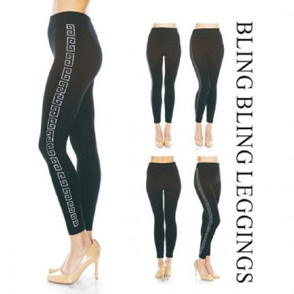 SILVER BLACK greek DESIGN RHINESTONE PAVE LINES DETAIL LEGGINGS PLUS ( 0031 )